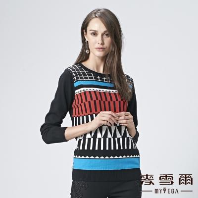 麥雪爾 純棉幾何圖形針織上衣-黑