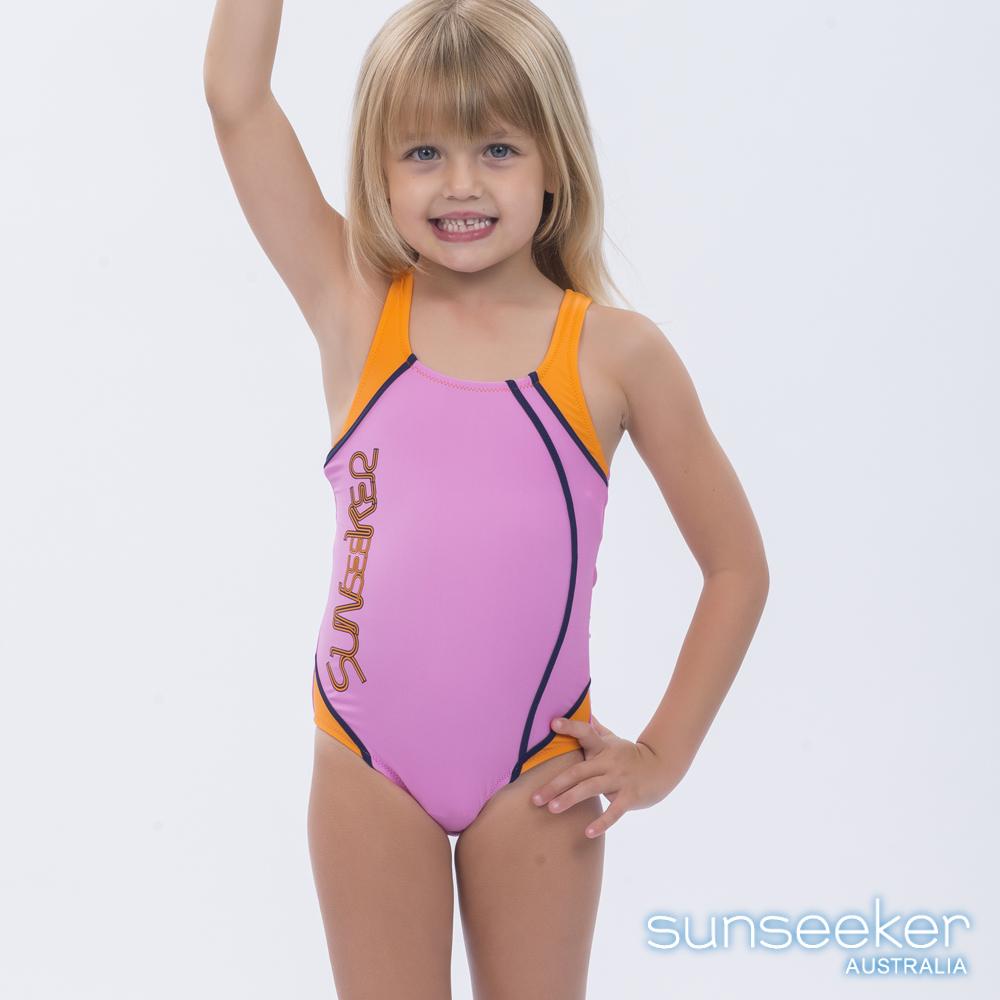澳洲Sunseeker泳裝抗UV防曬運動款連身泳衣-小女童粉