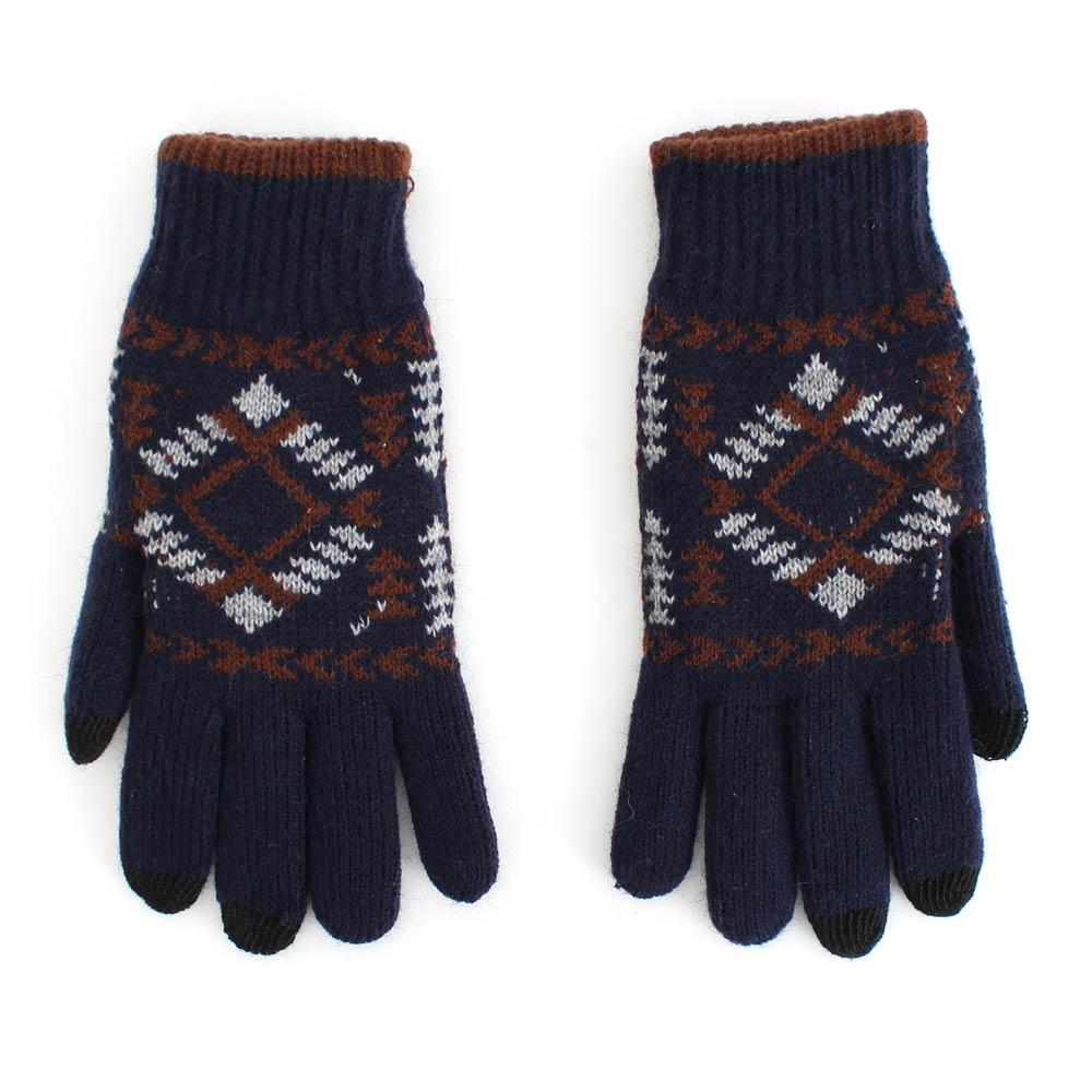 瑪榭 紳士用極暖雙層觸控針織手套(民族藍)