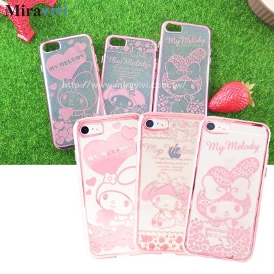 Sanrio三麗鷗iPhone 8/7(4.7)時尚質感電鍍雷雕保護套-美樂蒂