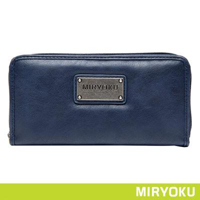 MIRYOKU-清新簡約系列-自信魅力拉鍊長夾-藍