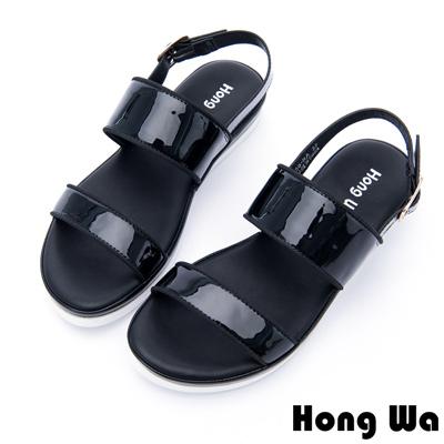 Hong Wa - 未來感漆皮釦環涼拖鞋 - 黑
