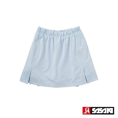SASAKI 長效性吸濕排汗專業網球裙-女-粉藍/銀蔥