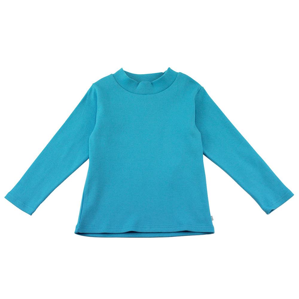 愛的世界 SUPERMINI 彈性羅紋長袖套頭衫-土耳其藍/6~8歲