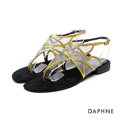 達芙妮DAPHNE 涼鞋~細帶拼接網紗低跟夾腳涼鞋~黃