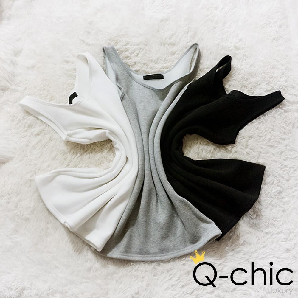 Q-chic 保暖鋪棉厚綿長版背心 (共三色)