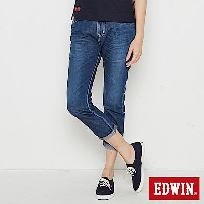EDWIN MISS九分小直筒牛仔褲-女-中古藍