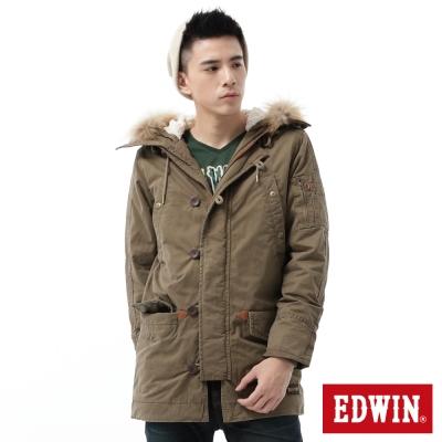 EDWIN 洗退長版派克防寒外套-男-灰卡其