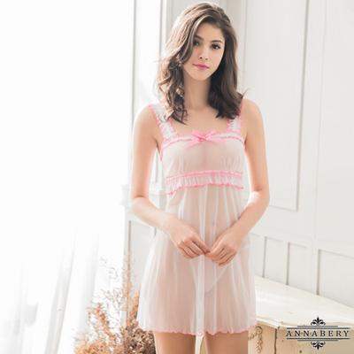 大尺碼 純白柔紗蕾絲滾邊性感睡衣二件組 白 L-2L Annabery