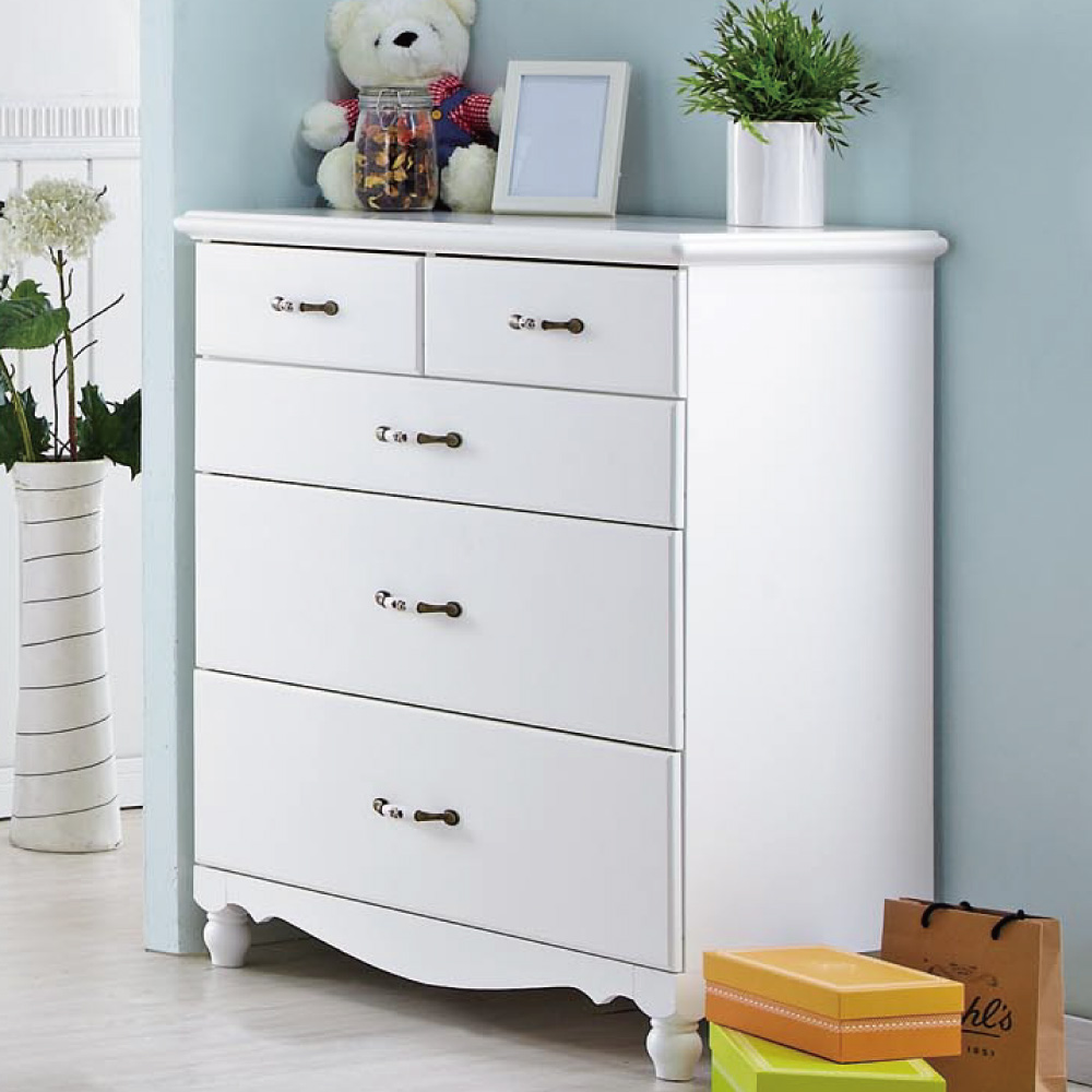 品家居 康斯汀3尺白色四斗櫃-90x45x100cm-免組