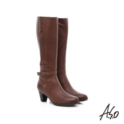 A.S.O 優雅時尚 全真皮側拉鍊奈米中跟長靴 深卡其色