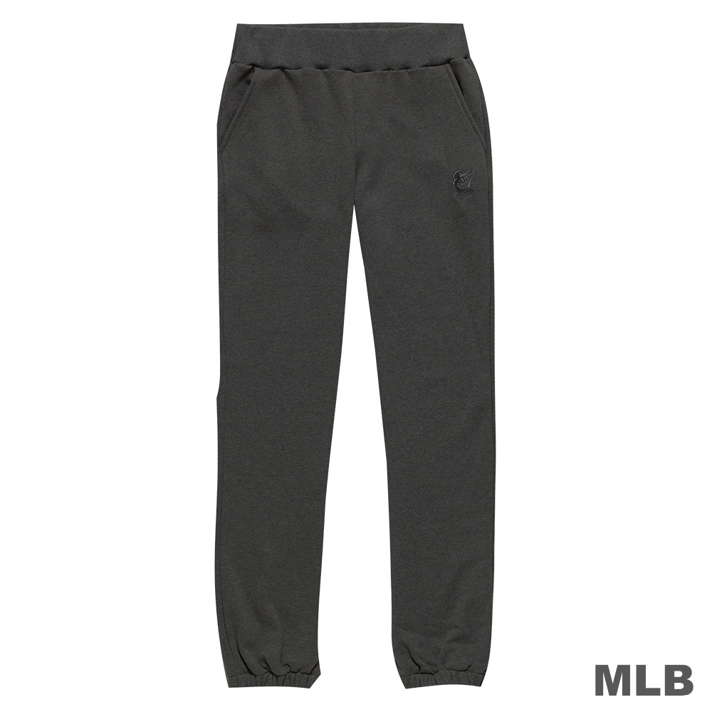 MLB-紐約洋基隊LOGO繡花純棉縮口厚長褲-麻灰 (女)