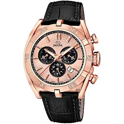 JAGUAR積架 EXECUTIVE 計時手錶-玫塊金x黑/45.8mm