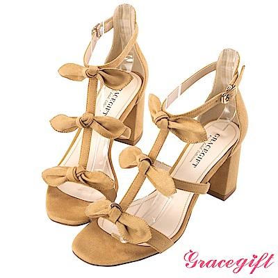 Grace gift-優雅層次蝴蝶結粗高跟涼鞋 駝
