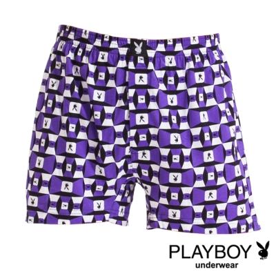 PLAYBOY MIT製LOGO印花精梳棉四角褲-單件(紫底方塊兔)