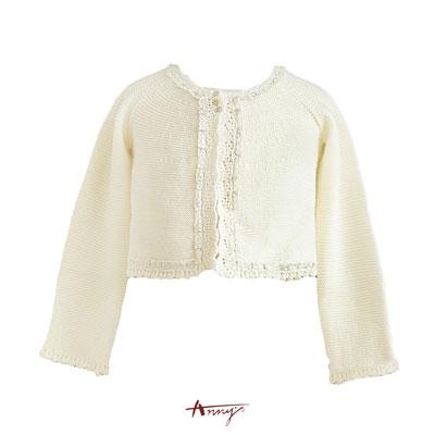 Anny氣質公主金蔥蕾絲領針織小外套*4296米白