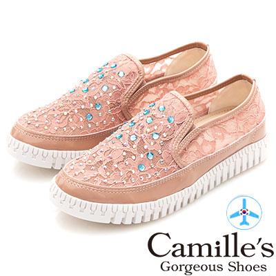 Camille's 韓國空運-正韓製-彩鑽透膚蕾絲懶人鞋-粉色