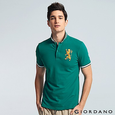 GIORDANO 男裝勝利獅王3D刺繡彈力萊卡POLO衫 -27 濕地綠