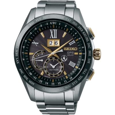 SEIKO精工 GPS 8X42 GPS太陽能鈦金屬衛星定位手錶(SSE139J1)-黑