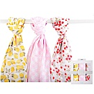 Luvable Friends 草莓檸檬棉紗包巾3件彌月禮盒組
