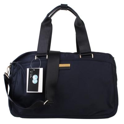 agnes b. 金/藍鐵牌LOGO旅行袋-小/深藍色