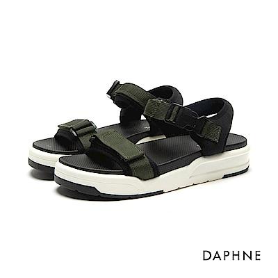 達芙妮DAPHNE 涼鞋-運動織帶一字厚底涼鞋-綠