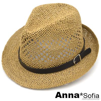 AnnaSofia 鏤編皮革釦帶 防曬遮陽紳士帽爵士帽草帽(駝系)