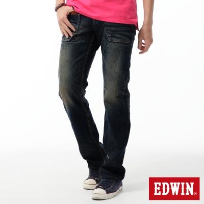 EDWIN-中直筒-BT麂皮西部牛仔褲-男-中古藍
