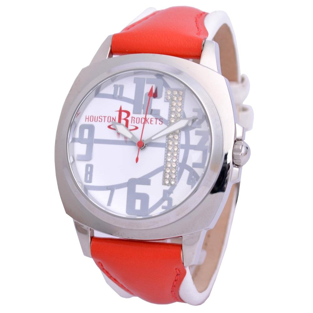 NBA 美國職籃 休士頓火箭隊炫麗晶鑽數字1腕錶-紅白/45mm