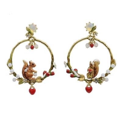 Les Nereides 動物花園系列 冬季花園可愛松鼠水鑽耳針式耳環
