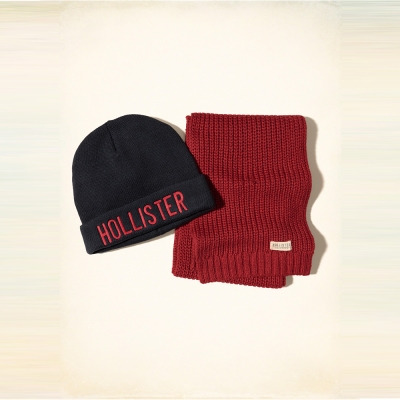 Hollister HCO 海鷗 經典刺繡文字毛帽圍巾組-深藍紅色