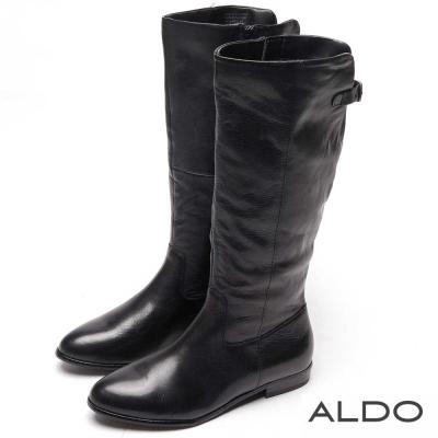 ALDO 黑色真皮直紋金屬釦帶拉鍊粗跟靴~尊爵黑色