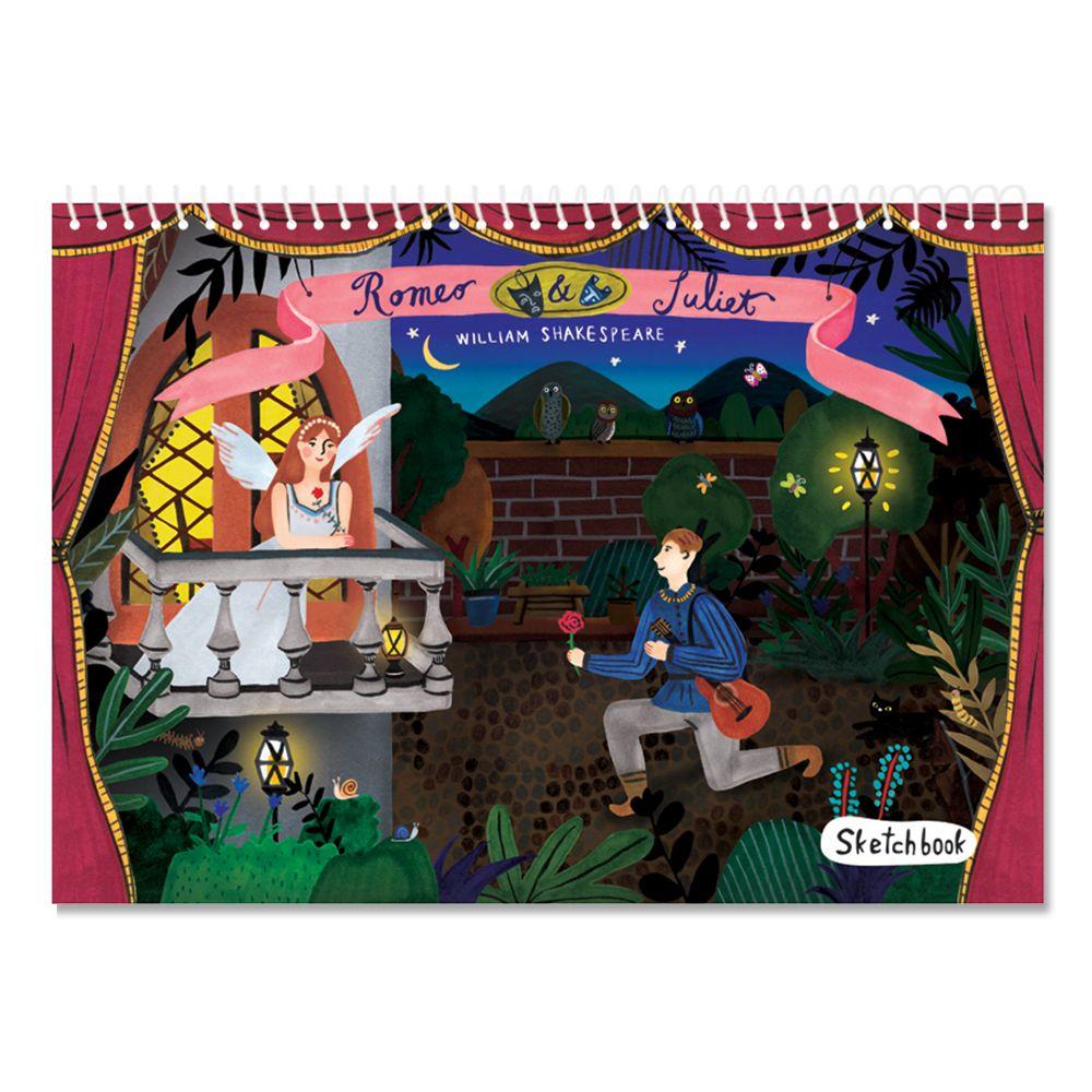 7321 Design 純真童話空白塗鴉素描本-羅密歐與茱麗葉