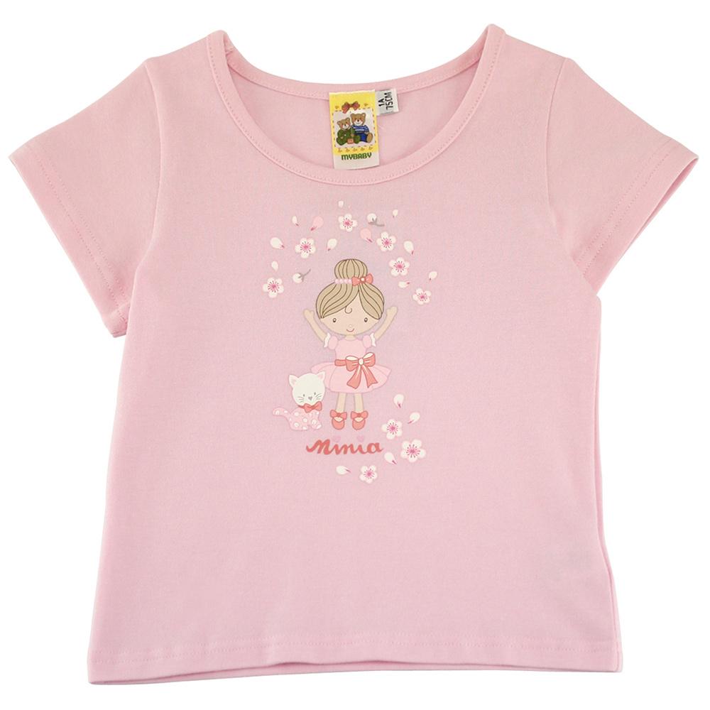 愛的世界 MYBABY 四月雪彈性圓領短袖T恤/4~8歲