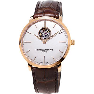 CONSTANT康斯登 SLIMLINE超薄系列機械錶 -玫瑰金框x咖啡/40mm