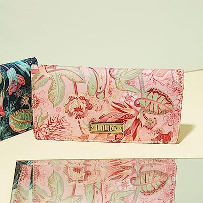 LiliO 長卡夾 非洲花卉彩繪印花Card Wallet Powder