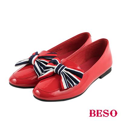 BESO俏皮印象 頂級全真皮甜美造型蝴蝶結平底鞋~紅