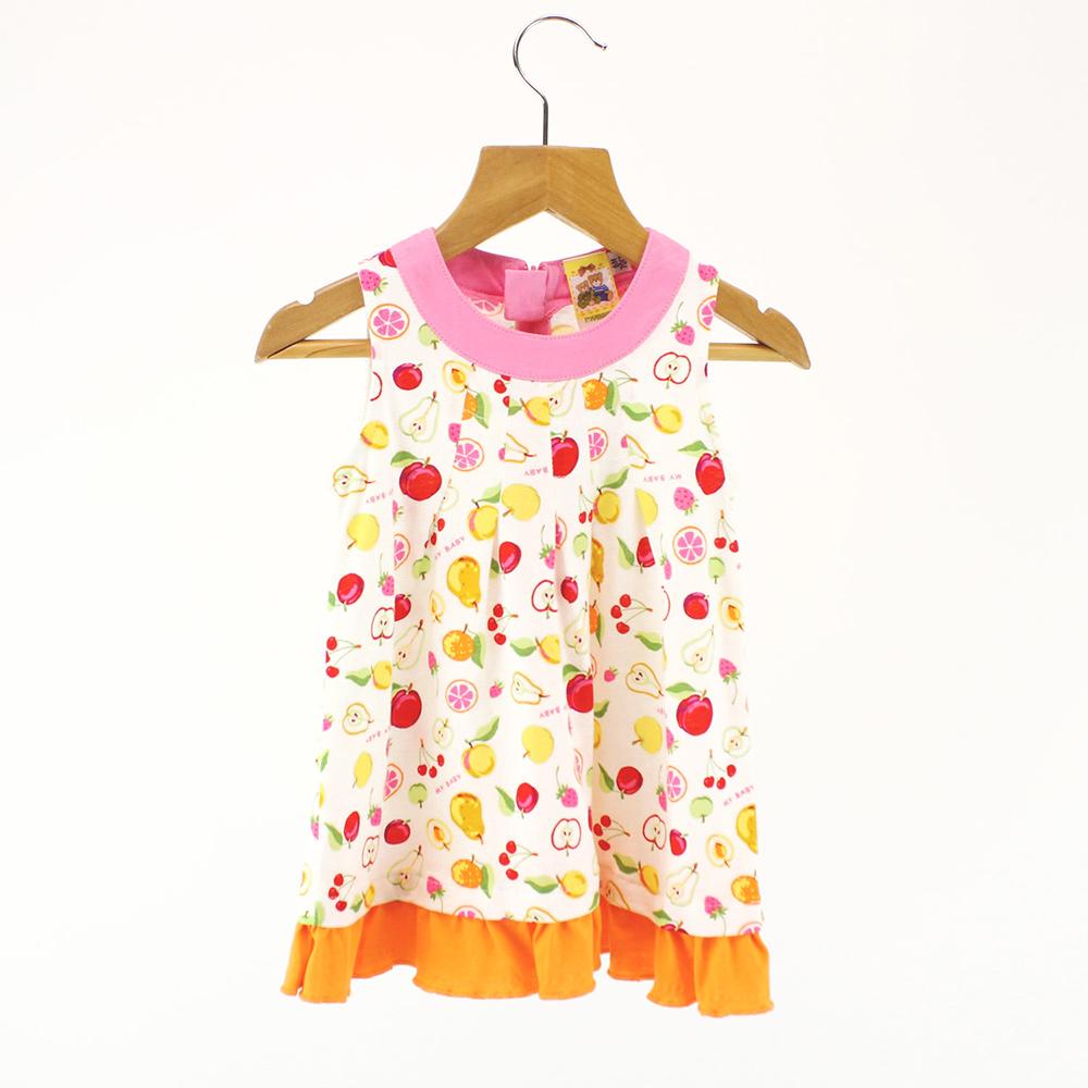 愛的世界 MYBABY 純棉水果百匯無袖洋裝/6個月~2歲