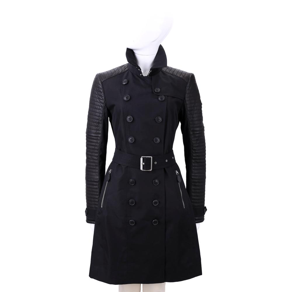 BURBERRY 黑色皮革拼接排釦風衣外套