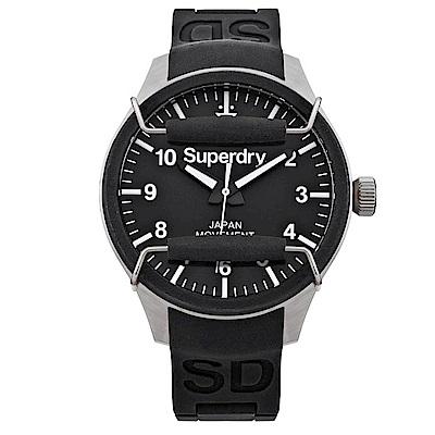Superdry極度乾燥 活力潮流時尚手錶-黑/44mm