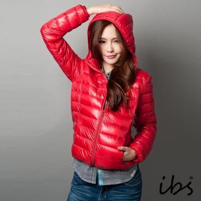 ibs-極輕量純白絨連帽羽絨外套-女-紅