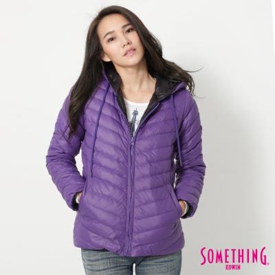 SOMETHING-休閒雙面羽絨外套-女-紫色