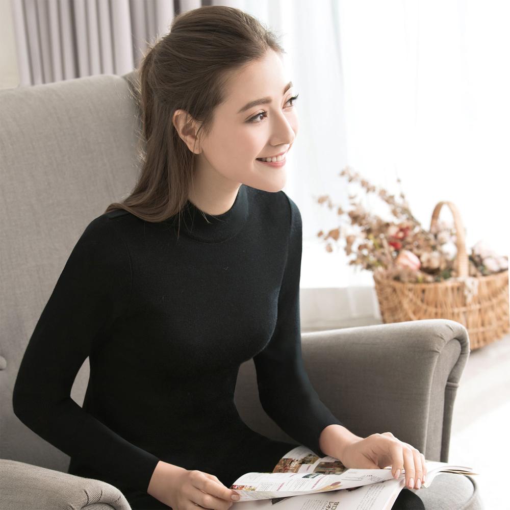 華歌爾 100%防縮羊毛 M-LL立領內衣(經典黑)-美麗諾超細羊毛