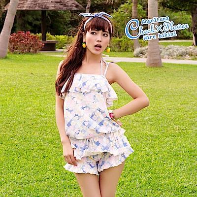 【AngelLuna日本泳裝】 印花格紋四件式比基尼泳衣-藍色