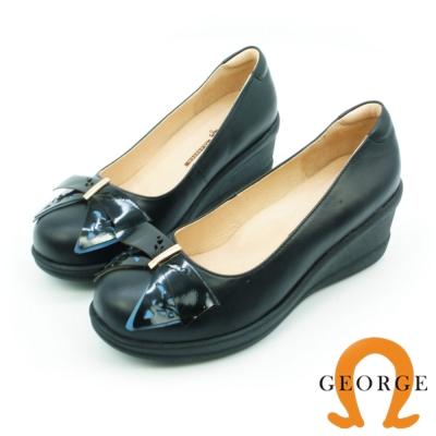 GEORGE 喬治-鏤空撞色金屬飾釦真皮輕量厚底鞋 黑色
