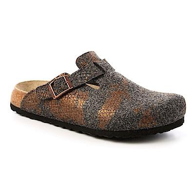 勃肯papillio 1007103。BOSTON波斯頓 包頭拖鞋(煤金)