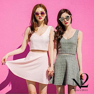 洋裝 兩件式格子短版無袖背心+波浪短裙 (粉紅) N2