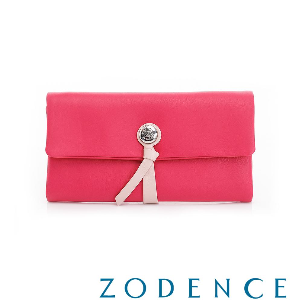 ZODENCE義大利羊皮柔軟繩扣設計長夾 俏桃紅