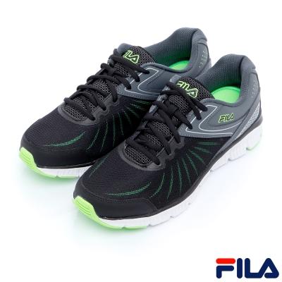FILA男慢跑鞋-黑/綠1-J033R-008