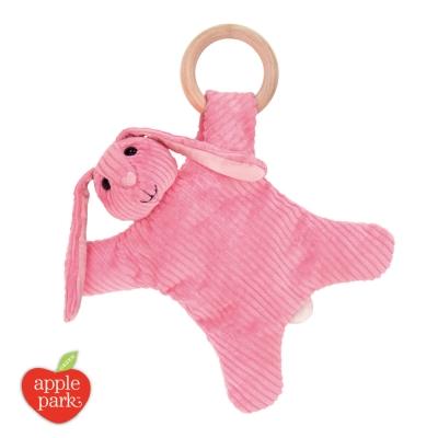 【美國 Apple Park】有機棉奶嘴安撫玩偶 - 粉紅長耳兔